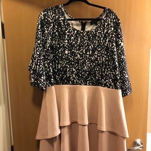 Eloquii color block tier midi dress